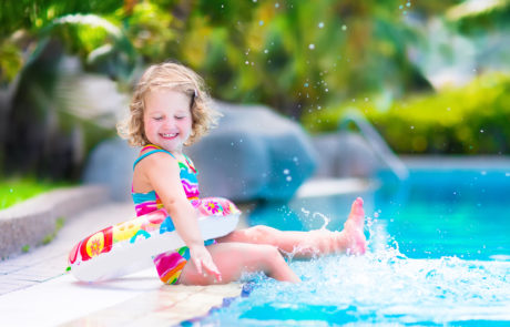 girl with pool float
